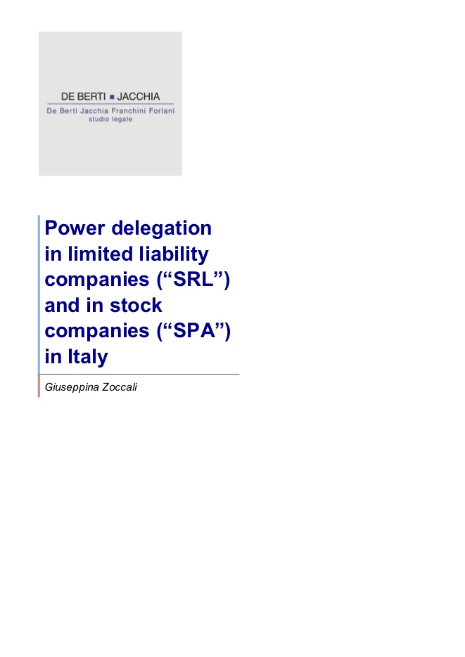 """POWER DELEGATION IN LIMITED LIABILITY COMPANIES (""""SRL"""") AND"""