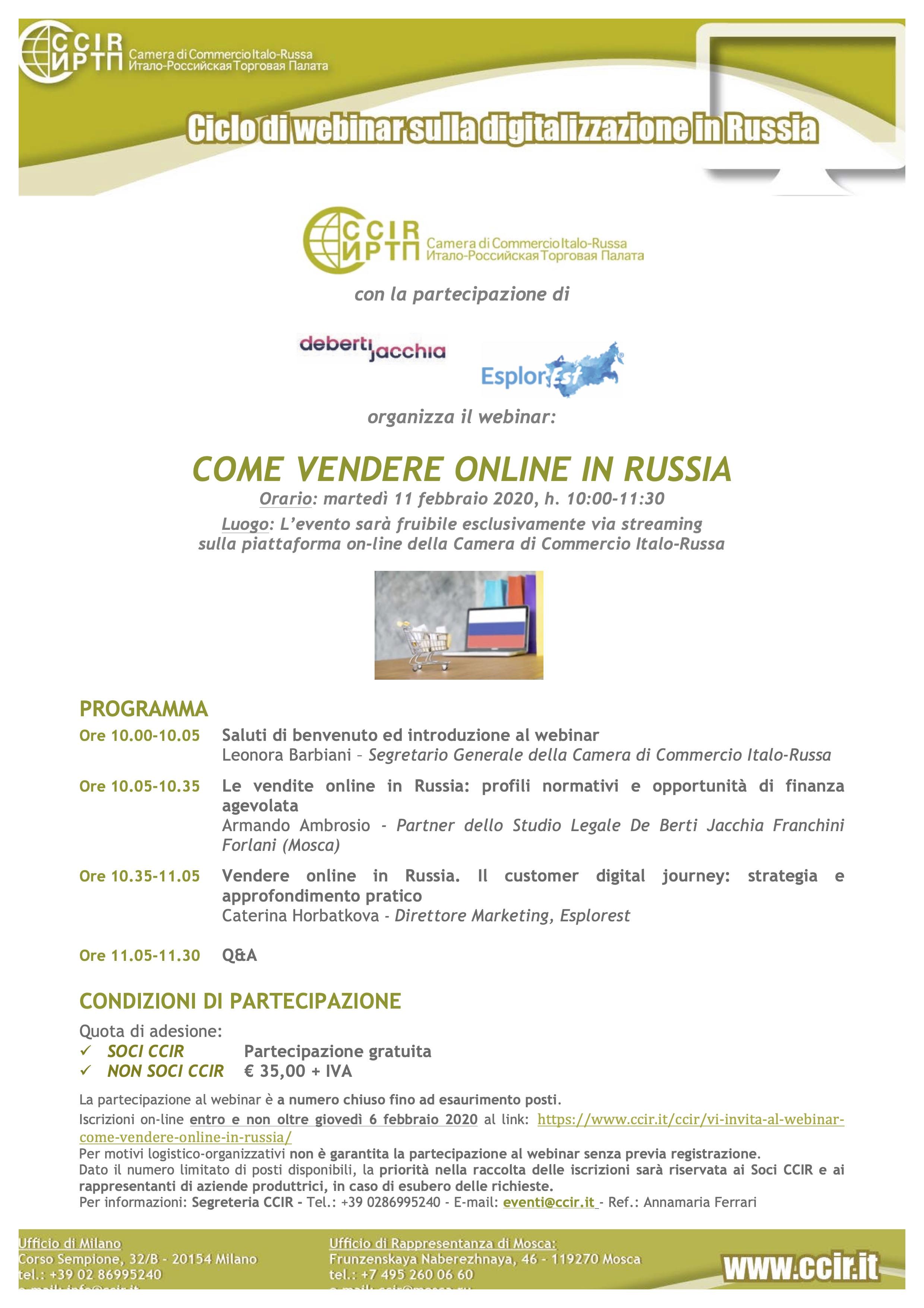 COME VENDERE ONLINE IN RUSSIA - webinar, February 11th ...